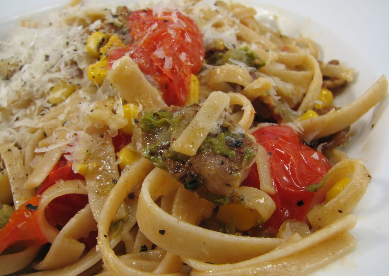 Bacon Parmesan Spaghetti with Asparagus, Corn and Tomatoes