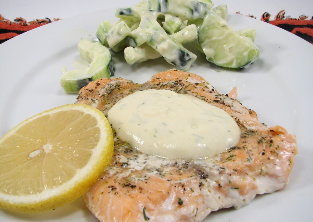 Wild Salmon with Dill and Cucumber Salad